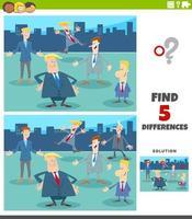 jeu éducatif de différences avec des hommes d & # 39; affaires de dessin animé