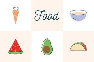 conception de vecteur de jeu d & # 39; icônes de style plat alimentaire