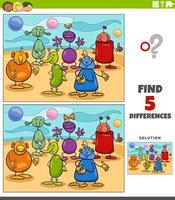 jeu éducatif de différences avec des personnages fantastiques extraterrestres