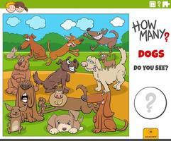 combien de tâches éducatives de chiens de dessin animé pour les enfants vecteur