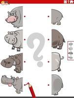 match des moitiés d'images avec le jeu éducatif hippopotame vecteur