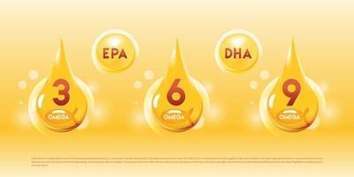 icône transparente de goutte d'huile de poisson oméga 3, 6, 9 pour illustration vectorielle de santé et de beauté vecteur