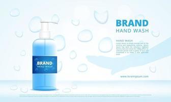 Bouteilles de gel de lavage à la main publicité avec compte-gouttes et silhouette à la main vecteur