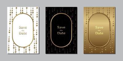carte d'invitation de mariage modèle de conception élégante perle et or vecteur