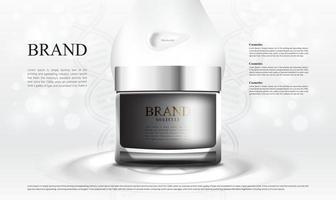 bol de crème cosmétique pour la peau avec des lumières bokeh douces vecteur