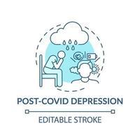 icône de concept de dépression post-covid vecteur