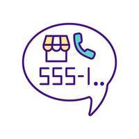 numéro de téléphone avec l'icône de couleur du combiné vecteur