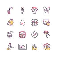 jeu d'icônes de couleur de maladies liées à l'eau vecteur