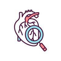 icône de couleur de dépistage de la santé cardiaque vecteur