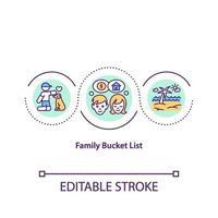 icône de concept de liste de seau familiale vecteur