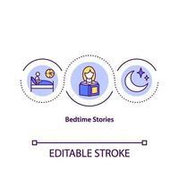 icône de concept d'histoires au coucher vecteur
