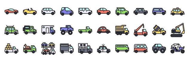 jeu d'icônes vectorielles liées au transport, style rempli vecteur