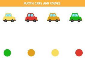 jeu de correspondance des couleurs pour les enfants. faire correspondre les voitures et les couleurs. vecteur