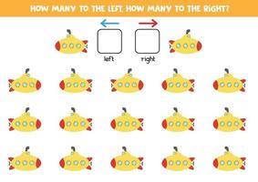 gauche ou droite avec sous-marin. feuille de calcul logique pour les enfants d'âge préscolaire. vecteur