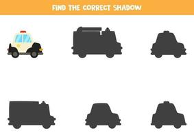 trouver la bonne ombre du cyclomoteur de bande dessinée. puzzle logique pour les enfants. vecteur