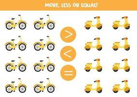 plus, moins, égal avec le vélo de dessin animé et le cyclomoteur. feuille de travail pédagogique vecteur
