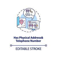 a une adresse physique et une icône de concept de numéro de téléphone vecteur