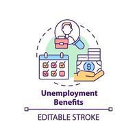 icône de concept de prestations de chômage vecteur