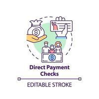 icône de concept de chèques de paiement direct vecteur
