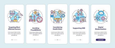 Principes du programme de reprise économique écran de la page de l'application mobile d'intégration avec des concepts