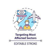 icône de concept ciblant les secteurs les plus touchés vecteur