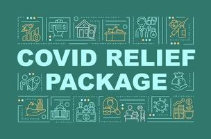 bannière de concepts de mot de paquet de secours de Covid vecteur