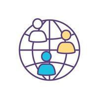 icône de couleur de la communauté internationale vecteur