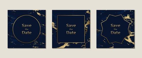carte d'invitation de mariage motif marbre bleu foncé en forme carrée avec modèle de cadre doré vecteur