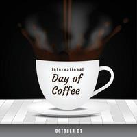 journée internationale du café avec des éclaboussures de café et illustration de vapeur vecteur