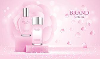 bouteilles de parfum sur fond de présentoir avec illustration de roses roses vecteur
