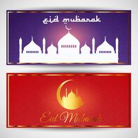 Eid mubarak bannières vecteur