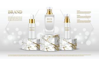 Présentoir de produits cosmétiques de forme hexagonale de luxe avec fond blanc vecteur