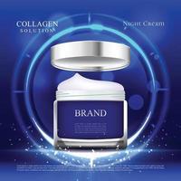 cette crème hydratante offre une protection toute la journée avec un fond bleu et des lumières vecteur