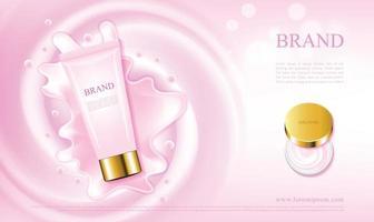 cosmétiques crème de soins de la peau rose avec des tubes et des pots illustration 3d vecteur