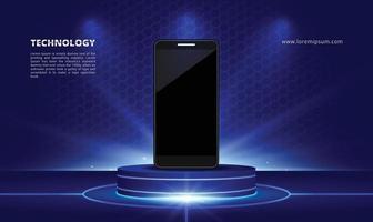 stand d'exposition de produits de science et technologie avec smartphone bleu clair vecteur