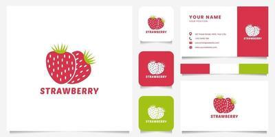 logo de fraise coloré avec modèle de carte de visite vecteur