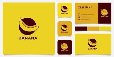 logo emblème de banane colorée avec modèle de carte de visite vecteur