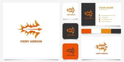 logo de flèche de feu coloré avec modèle de carte de visite vecteur