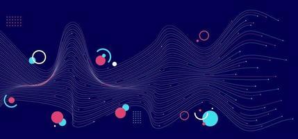 lignes abstraites de vague bleue et rose avec géométrique sur fond bleu foncé vecteur
