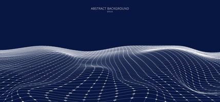 3d abstrait paysage filaire blanc sur fond bleu vecteur