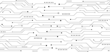Circuit imprimé noir motif abstrait sur fond blanc concept technologique vecteur