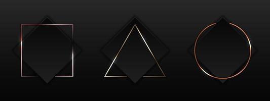 ensemble de carré noir avec bordure géométrique or, or rose, insigne de cadre métallique cuivre sur style de luxe fond sombre vecteur