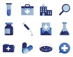 icône de style plat médical et scientifique mis en conception de vecteur