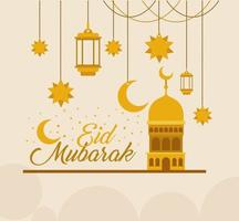 temple en or eid mubarak avec lanternes de suspension de lune et conception de vecteur étoiles