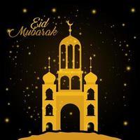 temple d & # 39; or eid mubarak avec conception de vecteur lune et étoiles