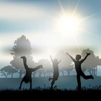Enfants jouant à la campagne vecteur