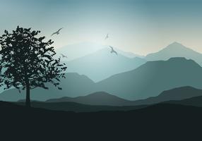Paysage d'arbres vecteur