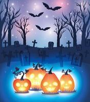 citrouille d'halloween brillant sur fond de cimetière vecteur