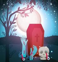 conception colorée d'halloween avec des mains de cercueil et de zombies sortant du sol vecteur
