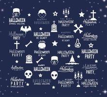 ensemble de lettrage joyeux halloween vecteur